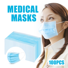 100pcs Blue Disposable Medical Mask Prevent Flu 3-Layer Filter Surgical Mask Protection Antibacterial Antivirus Hospital Masks