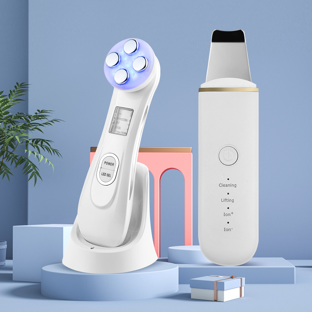 Ultrasonic Face Cleaning Skin Scrubber Facial Cleaner Machine Pore Cleaner Skin Care Set Face Cleaner + EMS LED Beauty Device