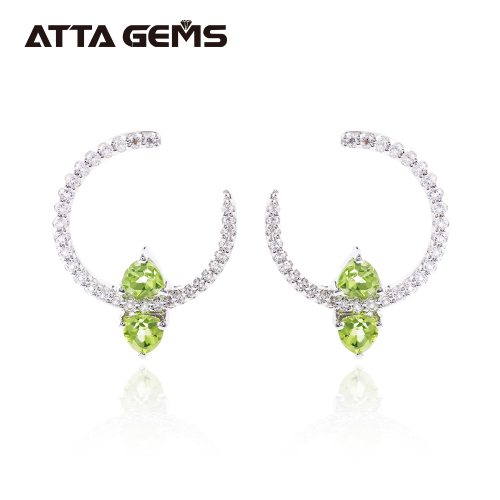 Natural Peridot Sterling Silver Earring for Women Party Birthday Gift Natural Gemstone Birthstone for August Simple Fashion Gift