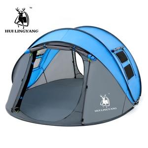 Image 4 - كبير رمي خيمة في الهواء الطلق 3 4 6 أشخاص التلقائي سرعة مفتوحة رمي المنبثقة يندبروف مقاوم للماء شاطئ التخييم خيمة مساحة كبيرة