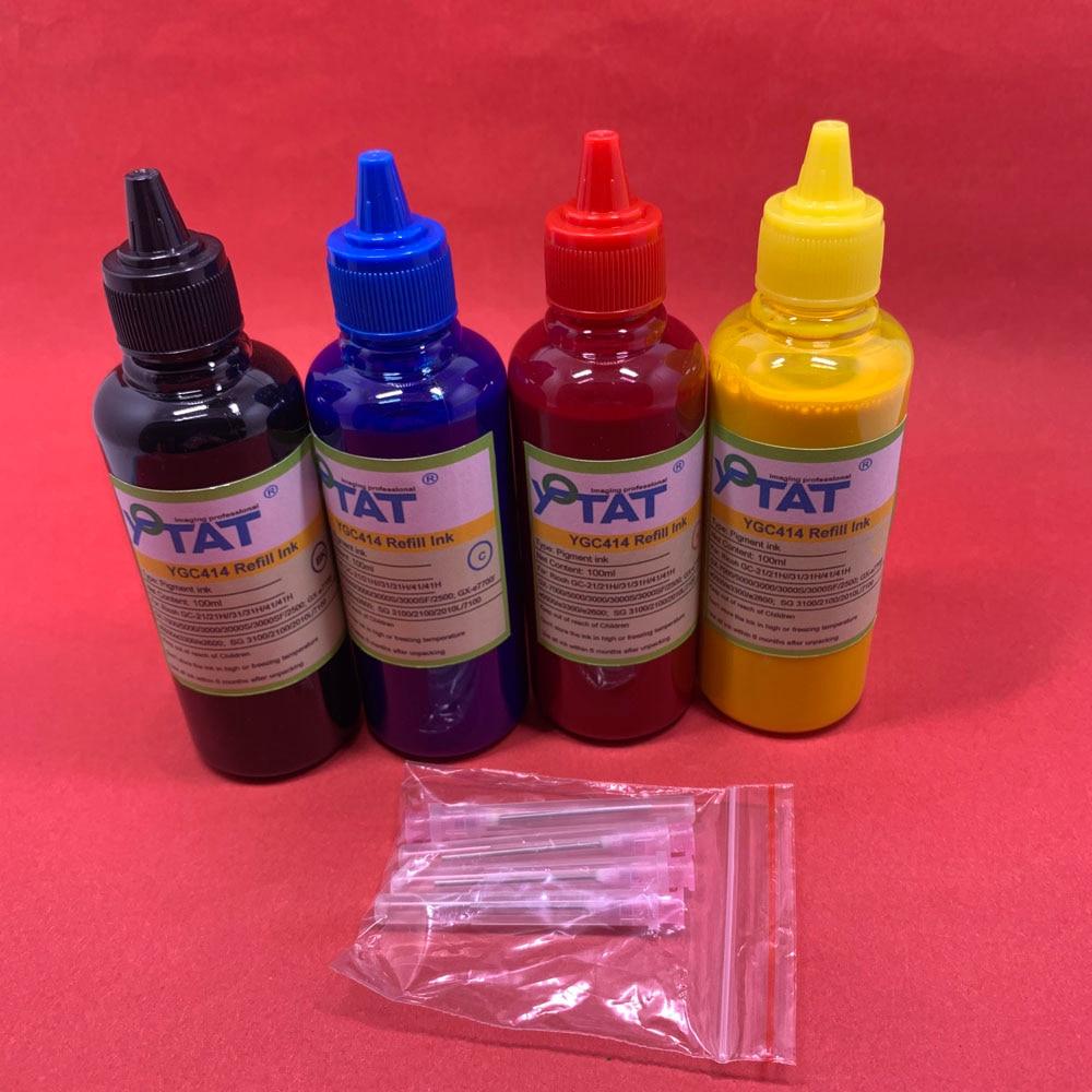 YOTAT 4*100ml Pigment Ink GC21H GC31H GC41H GC21 GC31 GC41 for Ricoh GX7000 GX5000 GX3050N GX3000 GX2500 GXe5500 GXe7700 SG3100|Ink Refill Kits|   - title=