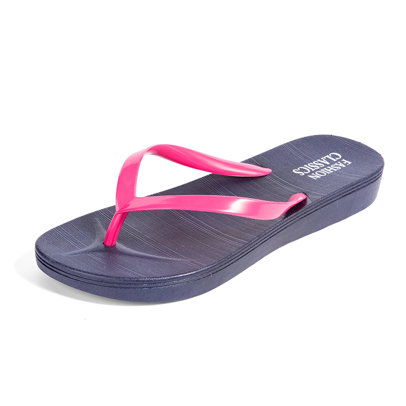 Womens Summer Slip-on Shoes Anti-slip Hard-wearing Fashion Leisure PVC Rubber Slippers Beach Swimming Indoor T-tied Flip Flops 2