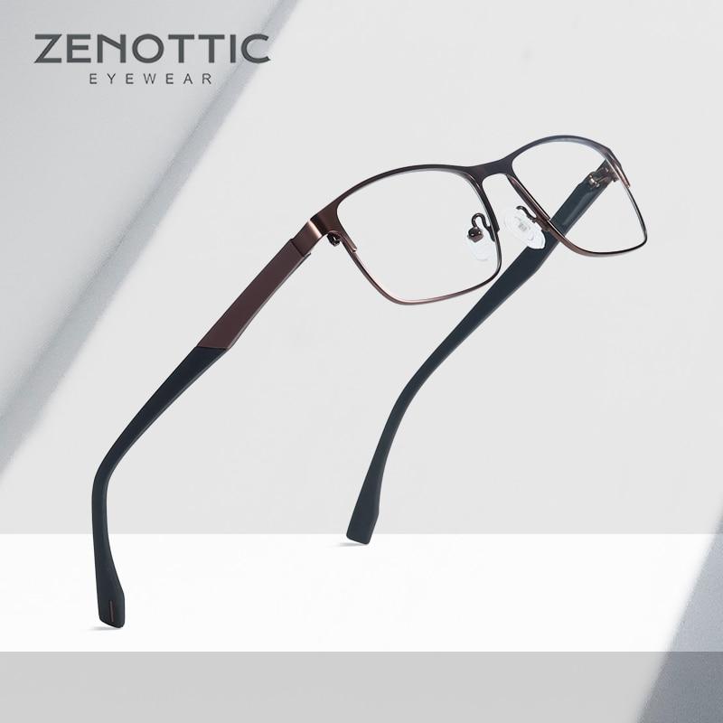 ZENOTTIC Optical Prescription Glasses Men Women Myopia Photochromic Eyeglasses Metal Square Frame Anti-Blue-Ray Lenses BT2103