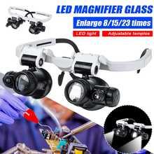 Profissional 8x 15x 23x lupa binocular led luz cabeça lupa de vidro led com lâmpada