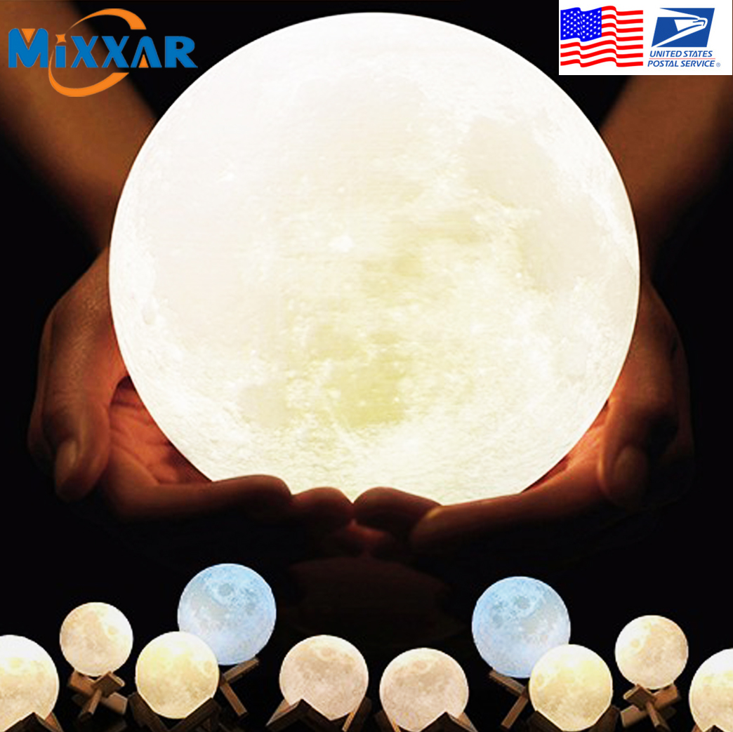EZK20 Dropshipping  Creative Home Decor USB Rechargeable 3D Print Moon Lamp Globe Bedroom Night Light Lover Children Gift