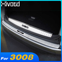 Hivotd for peugeot 3008 3008GT 2019 Car rear protective bumper trunk stainless steel protective pedal exterior accessories