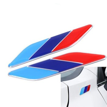 2Pcs/Pair 3D Metal Tricolor Car Body Side Fender Rear Trunk Emblem Badge for ALL Models BMW X1 X3 X5 X6 1 3 5 6 7 Series image