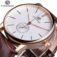 Forsining Mens Fashion Mechanical Watch Rose Gold Case Sub Dial Sport Watches Genuine Leather High Quality Gentleman Clock Reloj