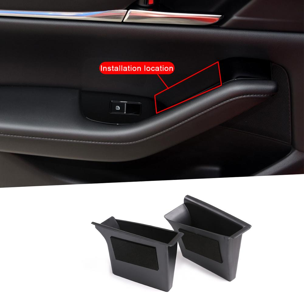 ABS Plastic Black For Mazda 3 2020 Front And Rear Doors Storage Box Car Accessories Interior
