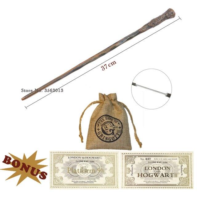 28 sortes de baguettes magiques de potiers de noyau en métal avec le billet de sac de monnaie Voldmort Hermione Snape baguette magique de Cosplay Harried sans boîte