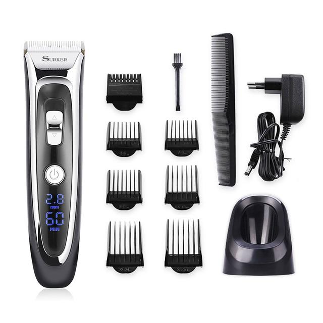 מקצועי שיער גוזם לגברים נטענת חשמלי שיער קליפר עם גבול קומבס אורך מתכוונן קרמיקה להב 35