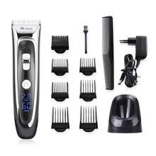 Profesyonel saç düzeltici erkekler için şarj edilebilir elektrikli saç kesme makinesi Limit tarak uzunluğu ayarlanabilir seramik bıçak 35