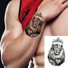 Водостойкая Временная тату-наклейка, король льва, корона, крест, сердце, узор, флэш-тату, маленькое боди-арт для детей, женщин, мужчин