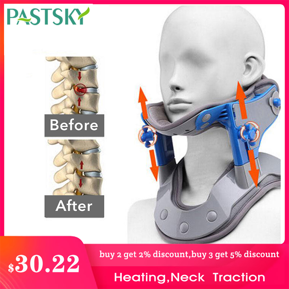 Adjustable Heating Cervical Traction Medical Neck Spine Stretching Collar Electric Correction Massager Support Brace Pain Relief(China)