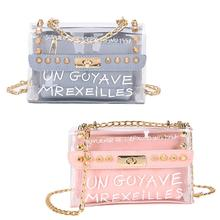 Chain Fashion Women  Handbag with Rivet Shoulder Diagonal Bag Transparent Messenger Bags for