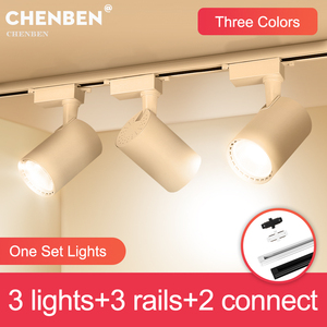Whole-Set Led Track Light 12W 20W 30W 40W COB Track Lights Rail Light Aluminum Spotlight For Shop Living Room Home Lamp Lighting