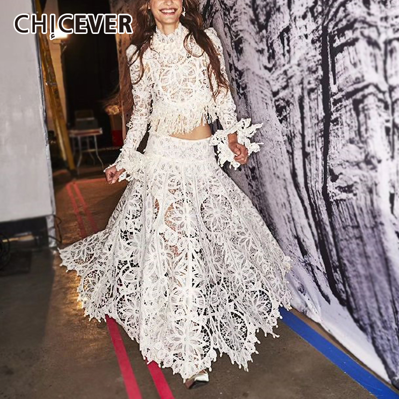 CHICEVER Hollow Out Two Piece Sets Women O Neck Flare Sleeve Patchwork Lace Tassel Shirt High Waist Skirt White Suits Female New