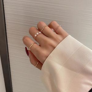5 sztuk/zestaw modne pierścionki zestaw dla kobiet złoty kolor okrągły perła prostota minimalistyczny styl osobowość geometryczny pierścionek wesele
