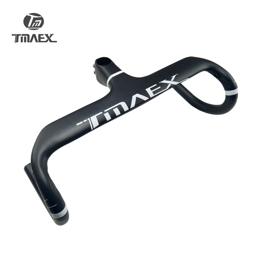 UD Carbon Road Bike Integrated Handlebar Cycling Bicycle Drop Bar With Stem 28.6mm Angle 6 Degrees Matte Black 330-350g
