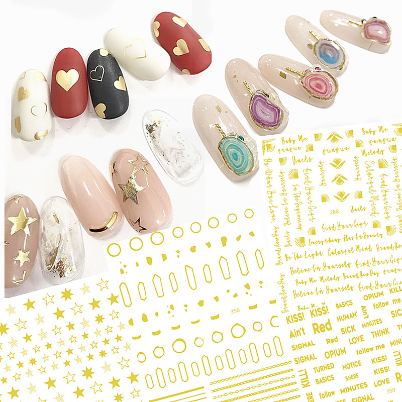 Japan Manicure Decorations Gum 3D Sticker Nail Bronze Flower Stickers Five-pointed Star Lettered Feather Shell Lines
