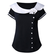 Harajuku Women Tops Tee Sailor Shirt Plus Size Button Striped Ladies T-Shirt Summer School Style Black White Female Tshirt plus size striped button up shirt