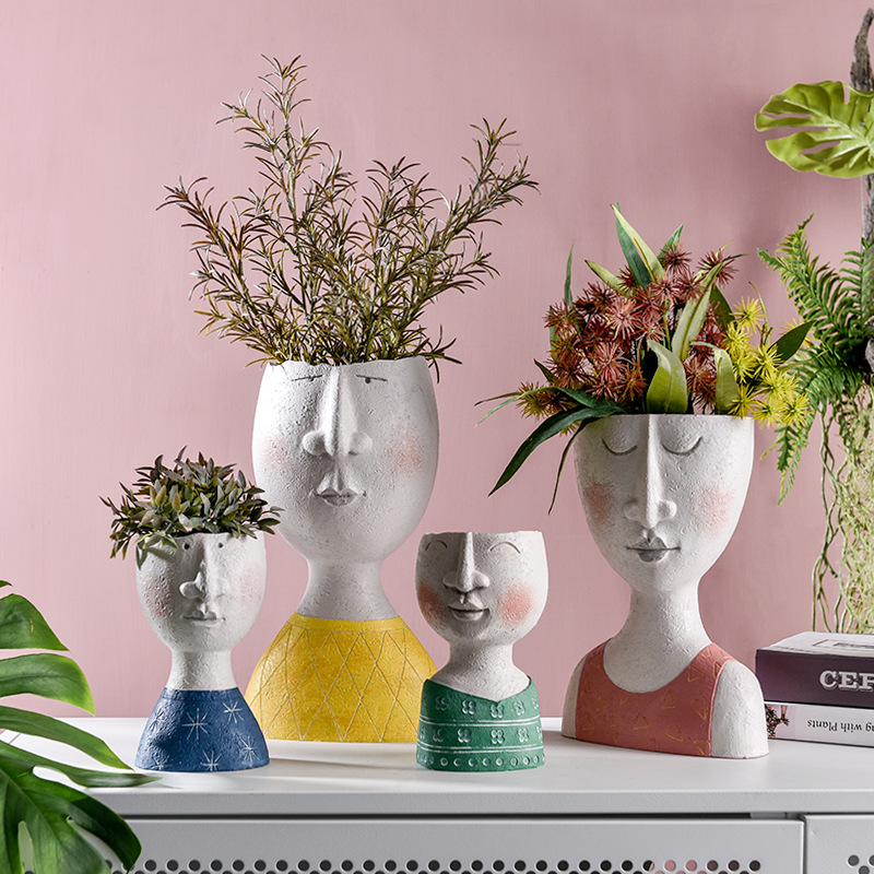 Creative Resin Human Head Statue Vase Cute Vase European Style Home Countertop Decorative Vase|Flower Pots & Planters| |  - title=