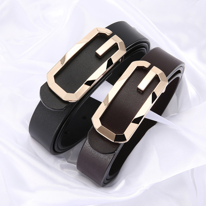 Woman Black Leather Belt High Quality Genuine Leather Gold Buckle Belts For Women Jeans Luxury Fashion Brand Designer G Femme