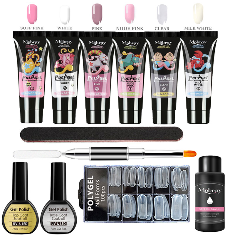 Poly Gel Manicure Set Extend Builder Polygel Kits Finger Nail Extension UV LED Acrylic Builder Gel Nail Lamp Crystal Jelly