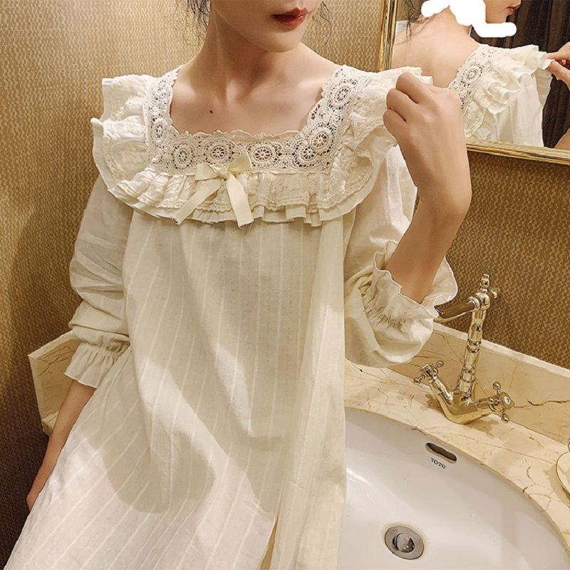 Spring Autumn Vintage Cotton Women's Long Nightgowns Princess Lace Embroidery Sleepwear Elegant Female Night Dress