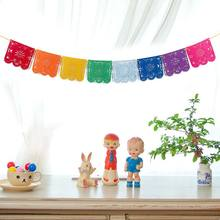 2.5M Mexicaanse Thema-evenement Papel Picado Banner Vlaggen Garland Bruiloft Spaans Party Decor Xmas 1 Pc Multi-color diy Huis Tuin(China)