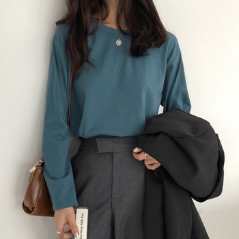 spring autumn T-Shirts Women Korean clothes Solid Color Loose All-match Leisure Simple t shirt Long Sleeve O-neck Student tops 2019 spring new women half sleeve loose flavour black dress long summer vestido korean fashion outfit o neck big sale costume