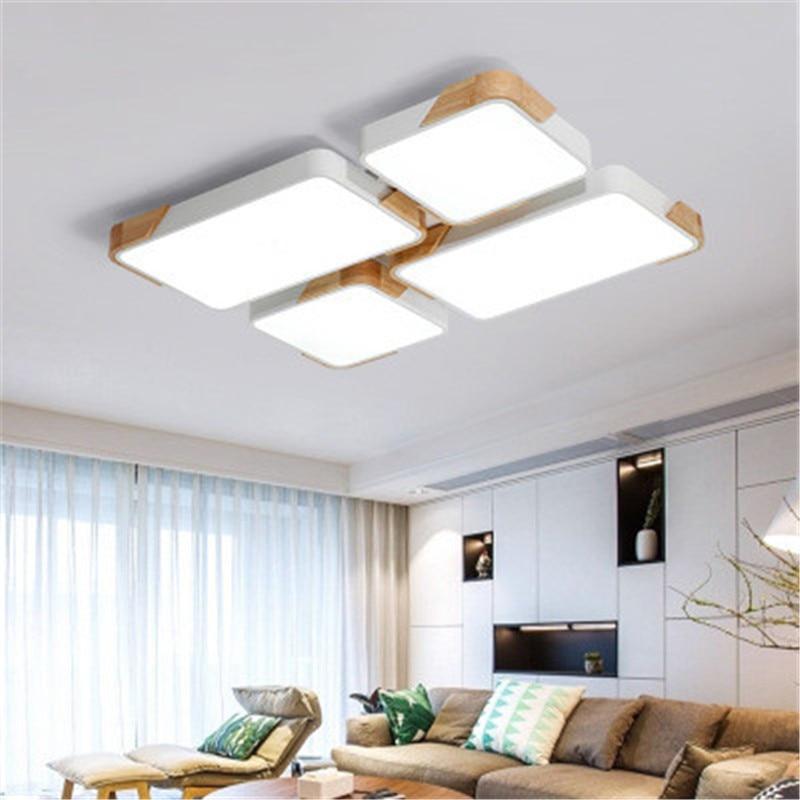 Nordic  Ceiling Light Rectangular Wrought Iron LED Light Living Room Light Atmosphere Personality Log Hall Restaurant Lights Ceiling Lights     - title=