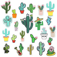 Nova Chegada Cactus Planta DIY Patches Remendo de Pano Bordados de Ferro No Cartoon Patches Badges Bonito Hippie Para Roupas Adesivo(China)