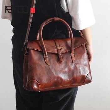 AETOO The new retro fashion women's first layer cowhide handbag female original hand rub color genuine leather shoulder bag