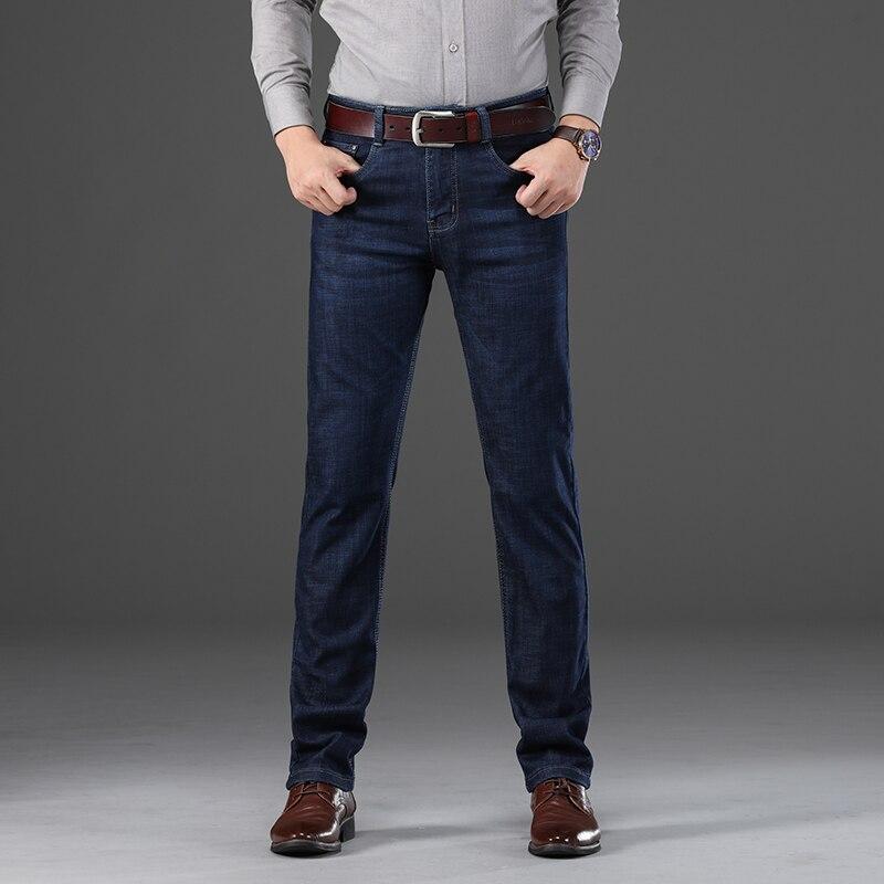 KSTUN Mens Jeans Business Straight Jeans Autumn And Winter Man Dark Blue Thicken Elasticity Full Length Gentlemen Denim Pants