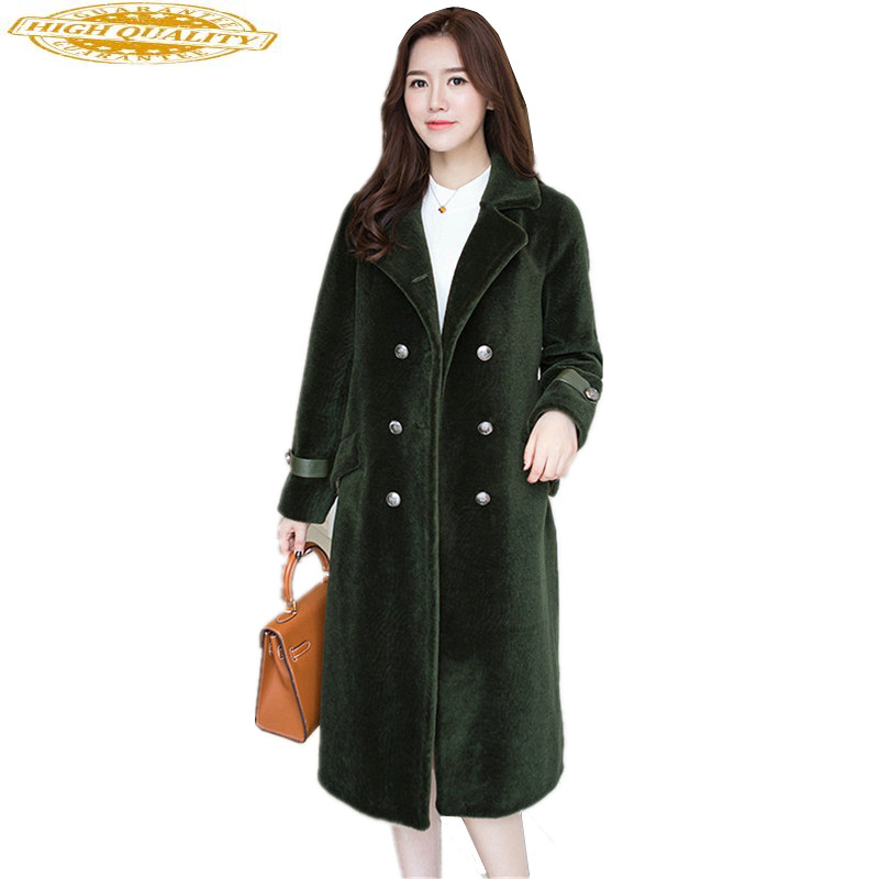 2020 Genuine Sheep Fur Coat Female Winter Jacket Women Long Warm Real Fur Coats Natural Shearling Jackets Outwear WYQ861