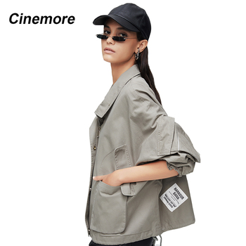 Cinemore 2020 New arrival autumn jacket women pink color high quality short style fashion windbreaker spring 9023