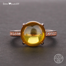 Shipei Rose Gold Natural Citrine Gemstone Ring for Women in 925 Sterling Silver Yellow Wedding Engagement Size 5-12