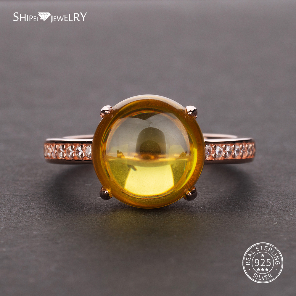 Shipei Rose Gold Natural Citrine Gemstone Ring for Women in 925 Sterling Silver Yellow Citrine Ring Wedding Engagement Size 5-12