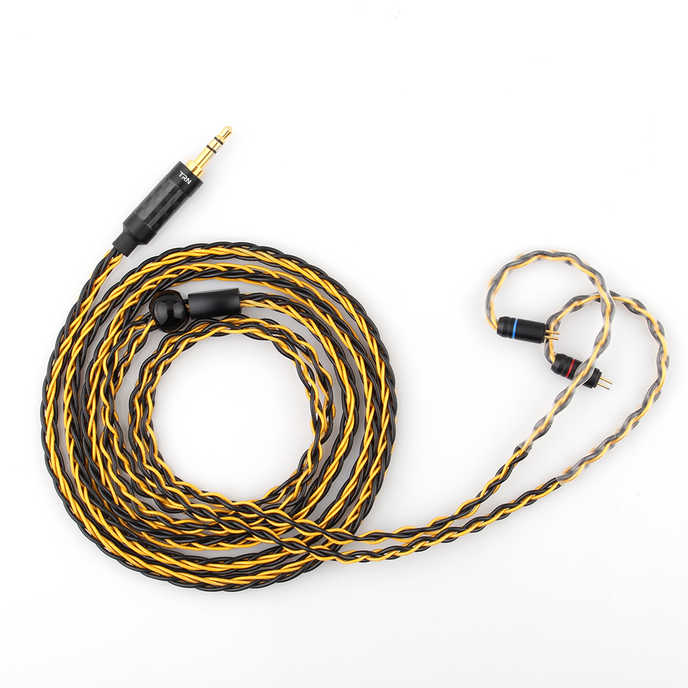 TRN T1 Gold Silver Mixed plated 0.75 MMCX Upgrade cable Stereo Audio Headphone wire for Earphone V90 IM2 V80 V30 V60 X6 AS10 image