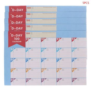5Pcs 100 Days Countdown Calendar Schedule Learning Goals Work Planner Periodic Agenda Table Office Supplies  1