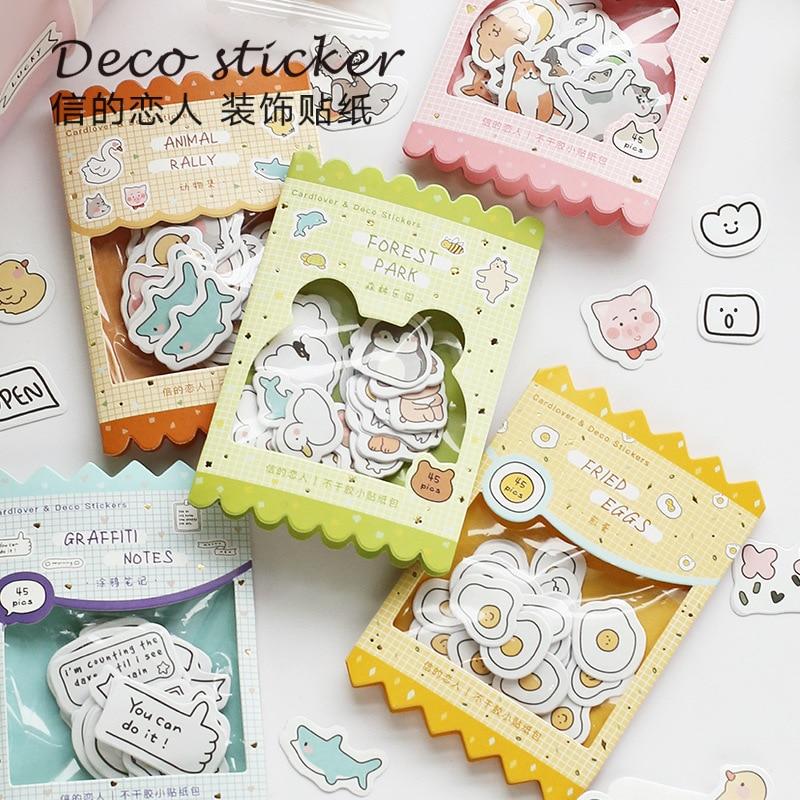 45 Pcs Animals Cute Label Kawaii Diary Handmade Adhesive Paper Flake Sticker Scrapbooking Stationery Decor Diy
