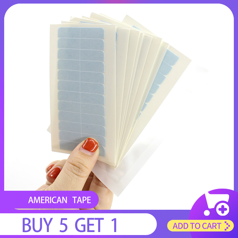HiArt 10pc Replacement Tape For Hair Extensions US Waterproof Tape For Lace Frontal/Toupee Glue Blue Re-Tape Hair Tools