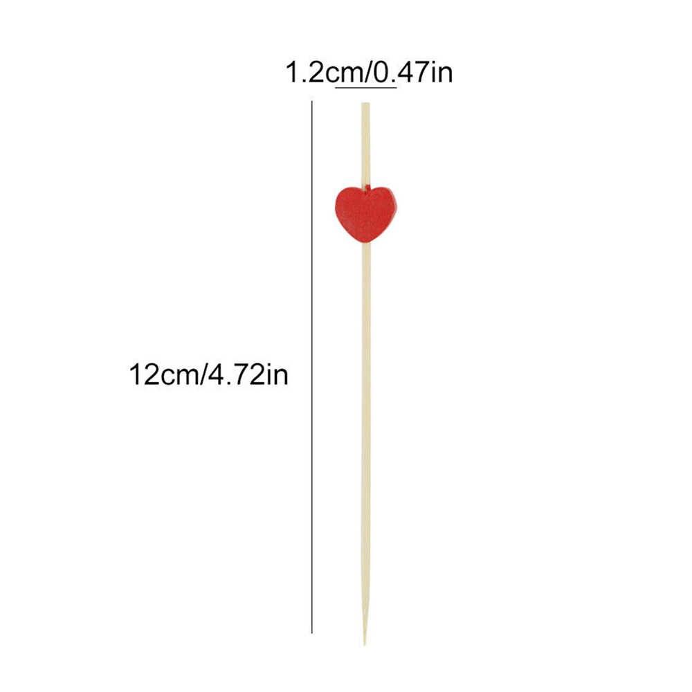 20/50pcs 12cm Jantung Bunga Bambu Pick Buffet Cupcake Buah Garpu Pesta Makanan Penutup Salad Tongkat Koktail Tusuk Sate untuk Pernikahan Dekorasi