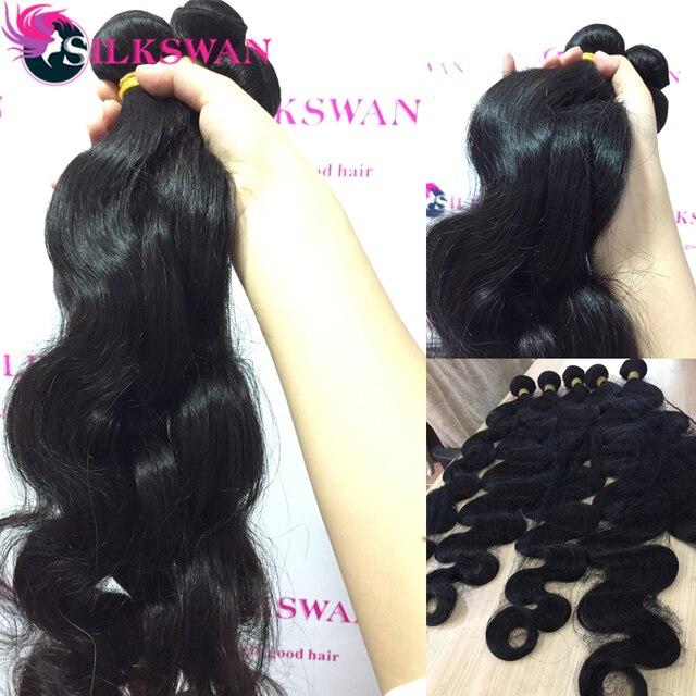 Extensiones de cabello humano silkswan 8 - 40 pulgadas, pelo brasileño mechones onda del cuerpo 1/3/4 Uds mechones Color Natural Remy extensiones de cabello