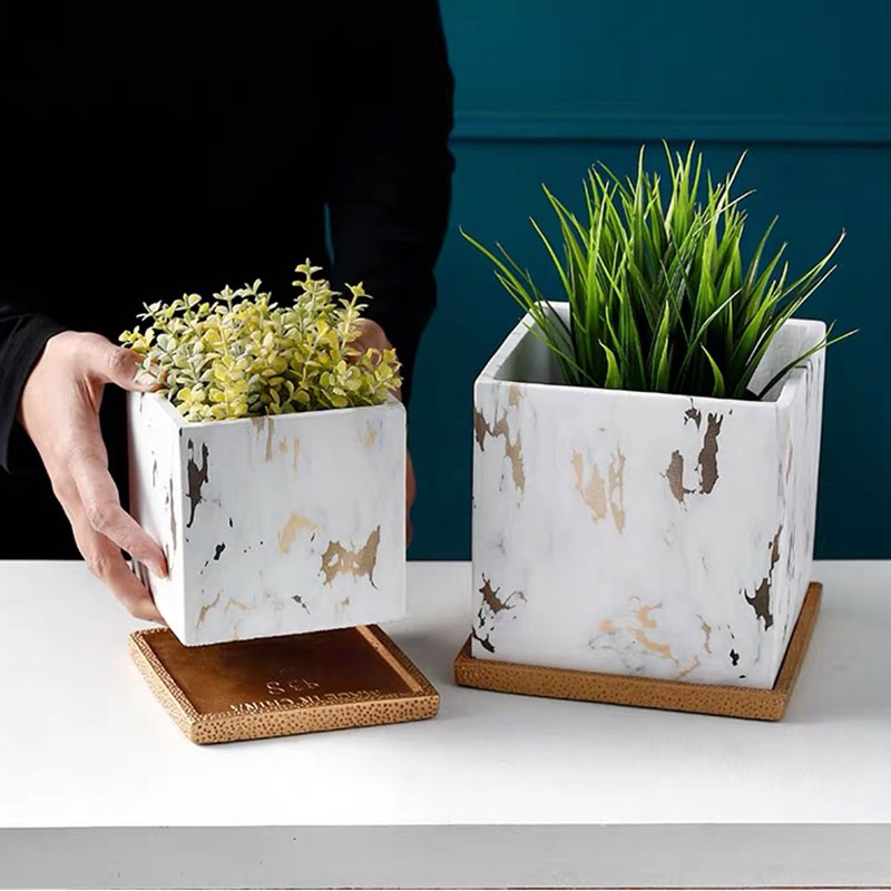 Diy Concrete Geometry Flowerpot Silicone Mold 2pcs/mold Square Round Pen Holder Storage Box Cement Plant Vase Mould