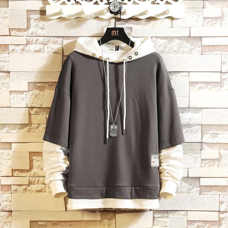 Fashion Skateboard Hoodies Sweatshirts 2021 Men'S Casual Spring Autumn Black Clothes OverSize M-5XL Hip Hop Patchwork Streetwear