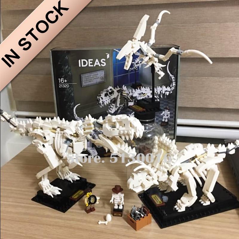 In Stock 21320 Dinosaur Fossils Word 910Pcs Model Building Blocks Bricks Toys Tyrannosaurus Deltoid Pterosaur Ideas Creator