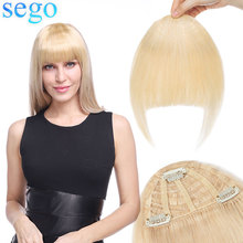Hairpiece Human-Hair-Bangs Front-Fringe SEGO 3-Clips Hand-Tied Remy Straight 25g 7inch