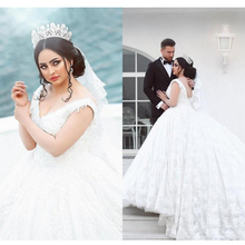 vestido de noiva Modern Arabic Ball Gown Wedding Dresses V-neck Sleeveless Lace Bridal Gowns Appliques Chapel Train Plus Size стоимость